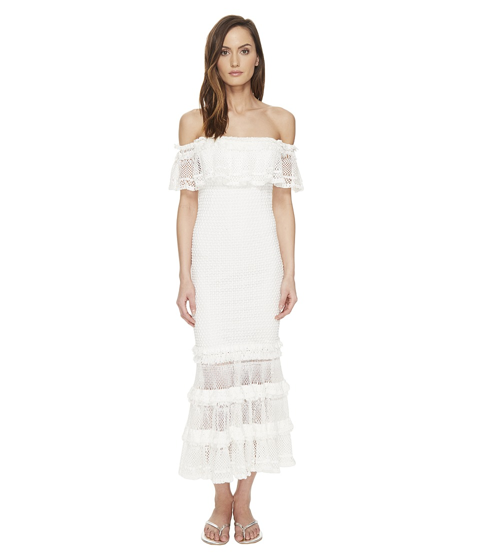 Jonathan Simkhai - Ruffle Crochet Off the Shoulder Solid Gown Cover-Up