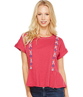 Lucky Brand - Short Sleeve Embroidered Peplum Tee