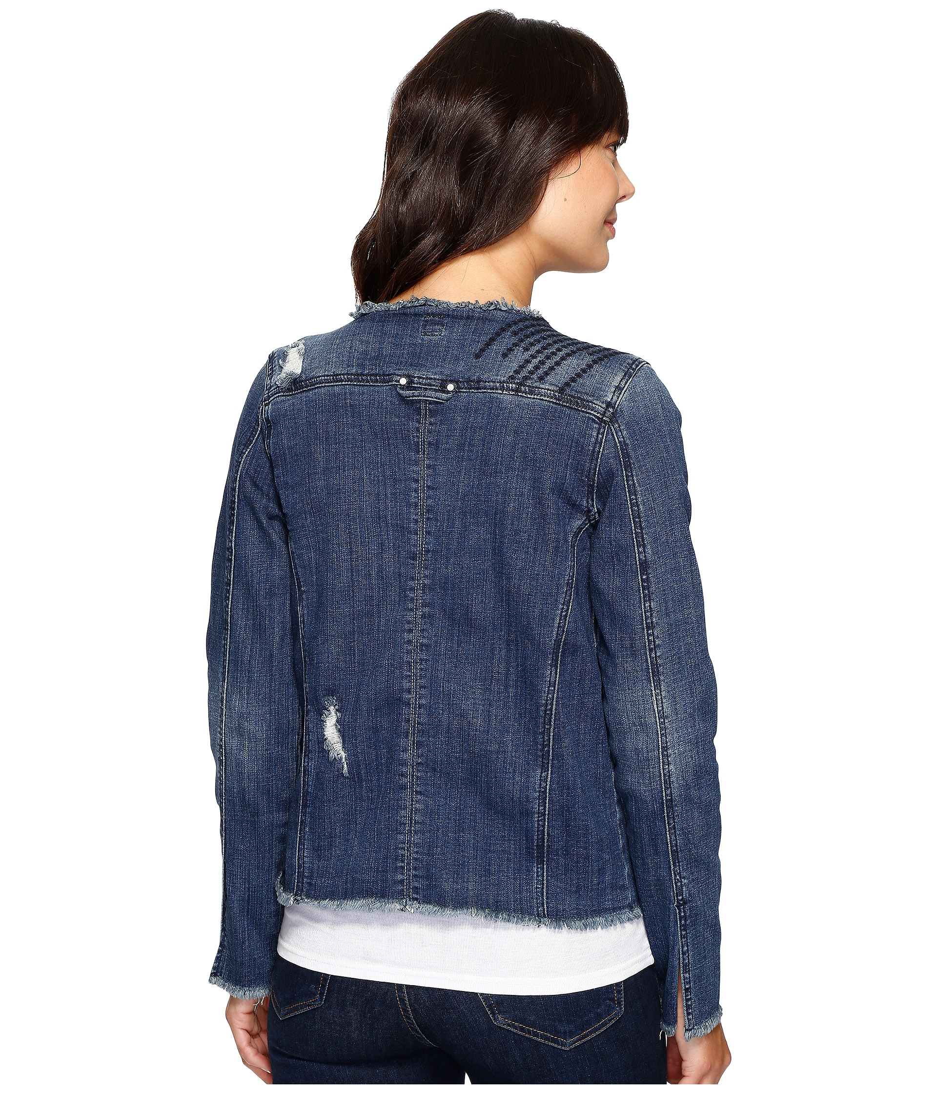 Jag Jeans Lori Jacket in Thorne Blue Crosshatch Denim Thorne Blue - Zappos.com Free Shipping ...
