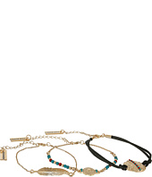 Steve Madden - Bead Textured Disc Laced Leaf Bracelet