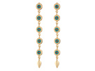 Steve Madden - Blue Bead Disc Link Leaf Dangle Post Earrings