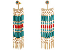 Steve Madden - Blue/Red Dangling Beaded Front To Back Earrings
