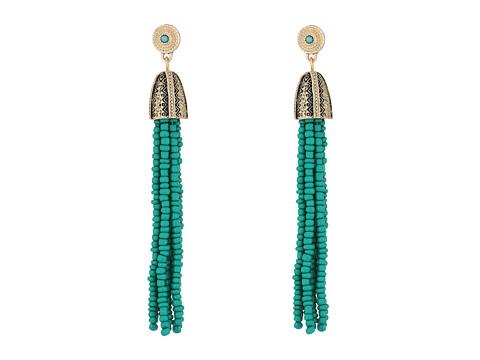Steve Madden Tribal Textured Green Beaded Tassel Earrings - Gold