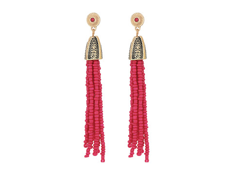 Steve Madden Tribal Textured Cherry Pink Beaded Tassel Earrings - Gold