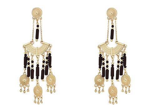 Steve Madden Brown Dangling Beaded Chandelier Post Earrings - Gold