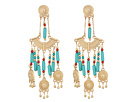 Green Dangling Beaded Chandelier Post Earrings