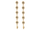 Steve Madden - Silver Bead Disc Link Leaf Dangle Post Earrings