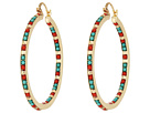 Green/Red Beaded Hoop Earrings