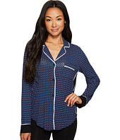 DKNY - Long Sleeve Notch Collar Top