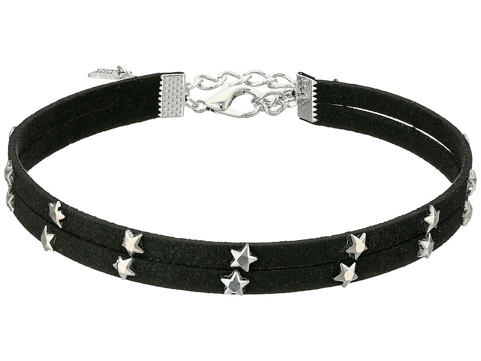 Steve Madden - 2 Row Black Suede with Stars Choker Necklace