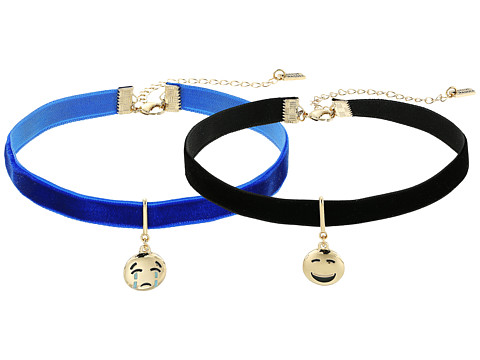 Steve Madden 2 Piece Emoji Choker Necklace Set - Laughing/Crying Face
