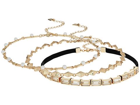 Steve Madden 3 Piece Velvet Cast Stone/Chain Chokers Necklace - Gold