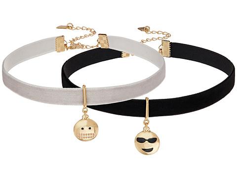 Steve Madden 2 Piece Emoji Choker Necklace Set - Cool/Smiley Face