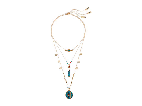 Steve Madden Three-Piece Blue Geometric Stone Disc Charm Chain Necklace - Gold
