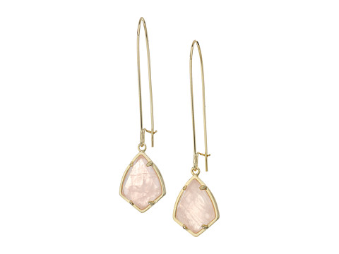 Kendra Scott Carinne Earrings - Gold/Rose Quartz