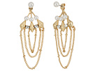 Steve Madden - Pearl/Chain Front to Back Earrings