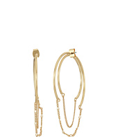 Steve Madden - Hoop with Chain Front to Back Earrings