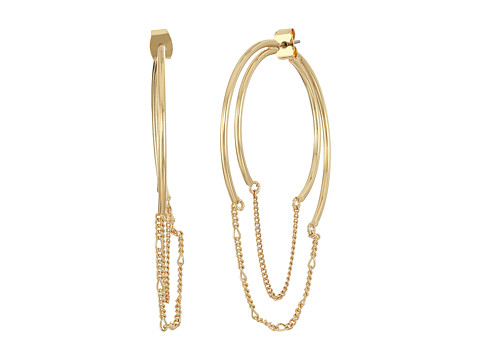 Steve Madden Hoop with Chain Front to Back Earrings - Gold