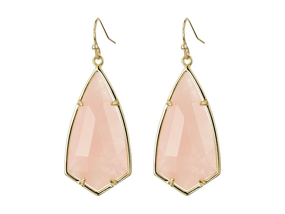 Kendra Scott Carla Earrings (Gold/Rose Quartz) Earring