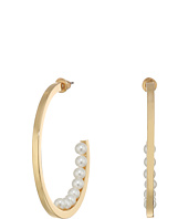 Steve Madden - C-Shape Pearl Hoop Earrings