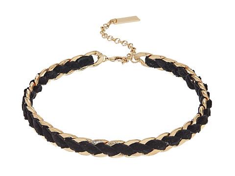 Steve Madden Velvet Laced Curb Choker Necklace - Gold