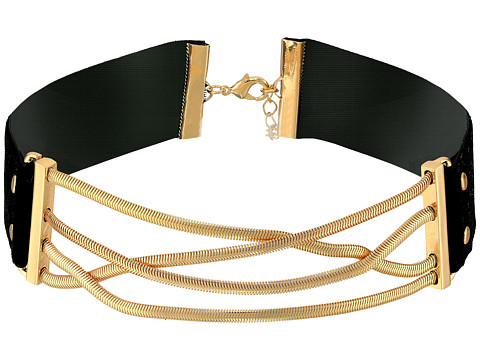 Steve Madden Straps Crisscross Snake Chain Choker Necklace - Gold