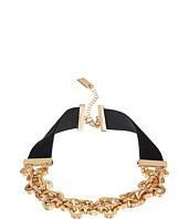 Steve Madden - Velvet Straps Rolo Chain Choker Necklace