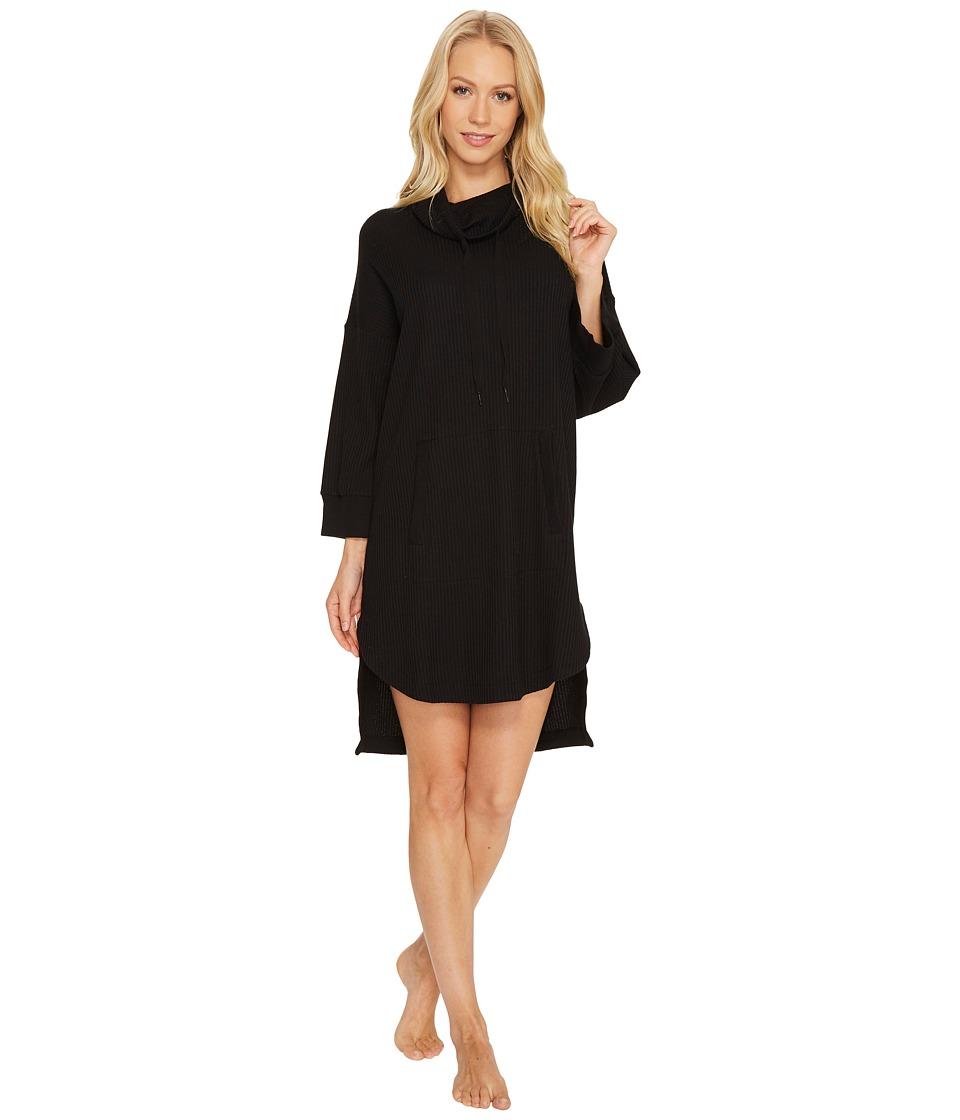 DKNY - 3/4 Sleeve Poncho (Black) Women's Pajama