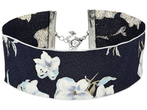 Steve Madden Material with Floral Pattern Choker Necklace - Silver/Blue