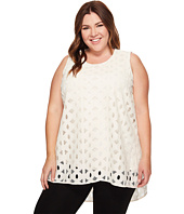 Vince Camuto Specialty Size - Plus Size Sleeveless Cable Lace High-Low Hem Blouse
