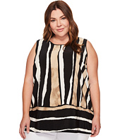 Vince Camuto Specialty Size - Plus Size Sleeveless Linear Terrain Blouse w/ Knit Back