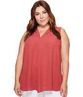 Vince Camuto Specialty Size - Plus Size Sleeveless V-Neck Invert Pleat Blouse