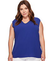 Vince Camuto Specialty Size - Plus Size Extend Shoulder V-Neck Mix Media Textured Top