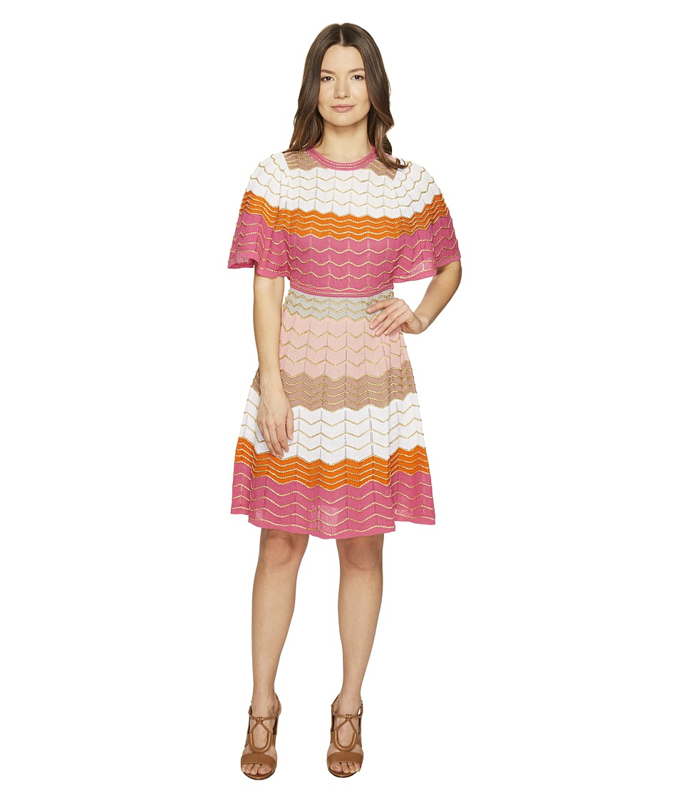 M Missoni Color Block Zigzag Dress (White) Women