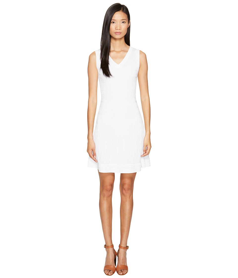 M Missoni Solid Knit Sleeveless V-Neck Dress (White) Women