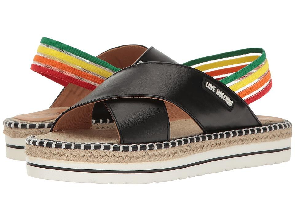 LOVE Moschino Rainbow Strap Sandal (Black) Women