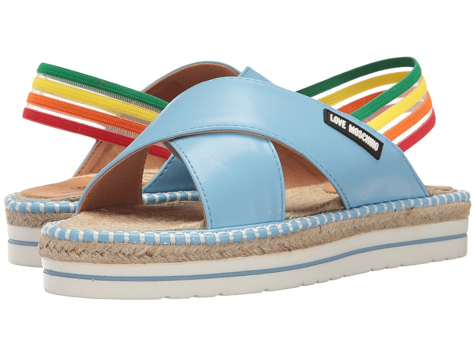 LOVE Moschino Rainbow Strap Sandal (Blue) Women