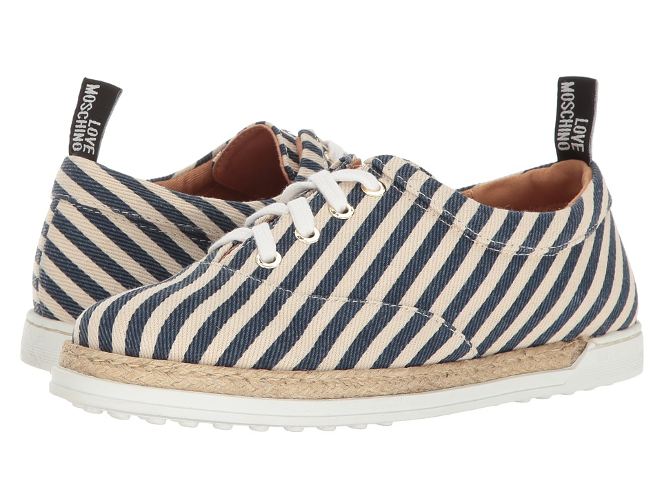 LOVE Moschino Striped Canvas Shoe (Navy) Women