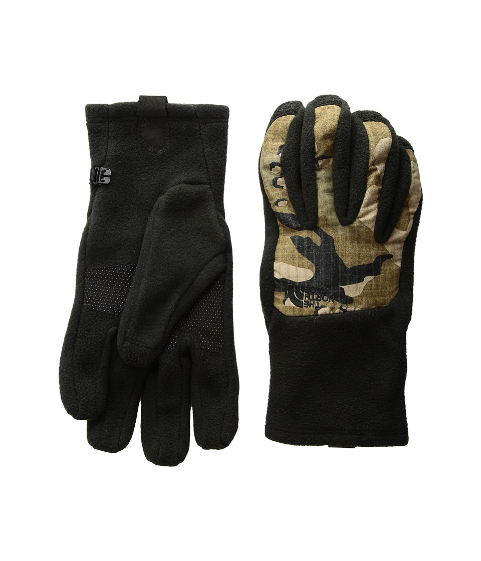 The North Face - Mens Denali Etiptm Glove (TNF Black/Burnt Olive Green Woodchip Camo Print) Extreme Cold Weather Gloves