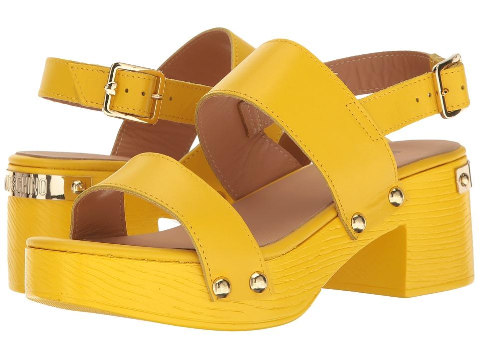 LOVE Moschino Chunky Wooden Sandal (Yellow) Women