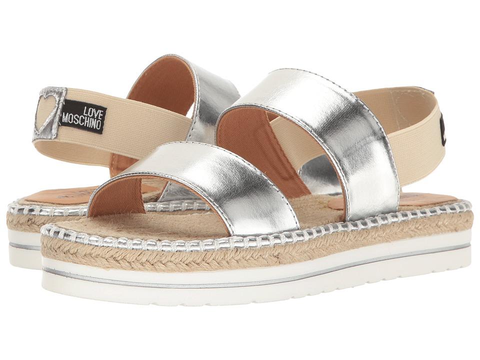 LOVE Moschino Metallic Sandal Espadrille (Silver) Women