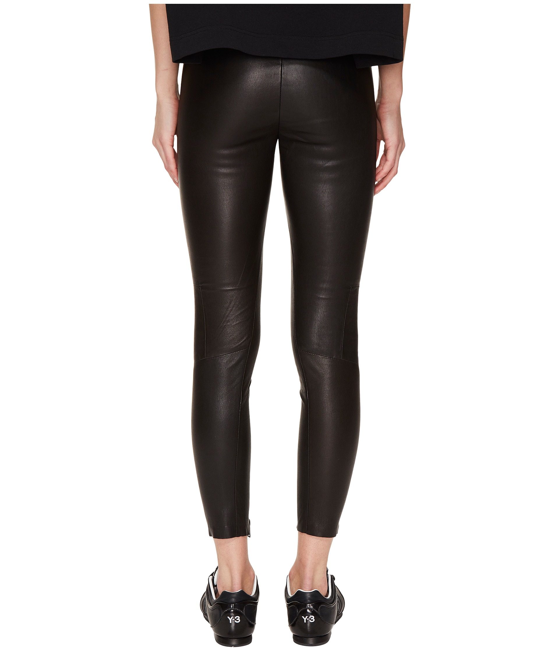 adidas Y-3 by Yohji Yamamoto Leather Leggings at Zappos.com