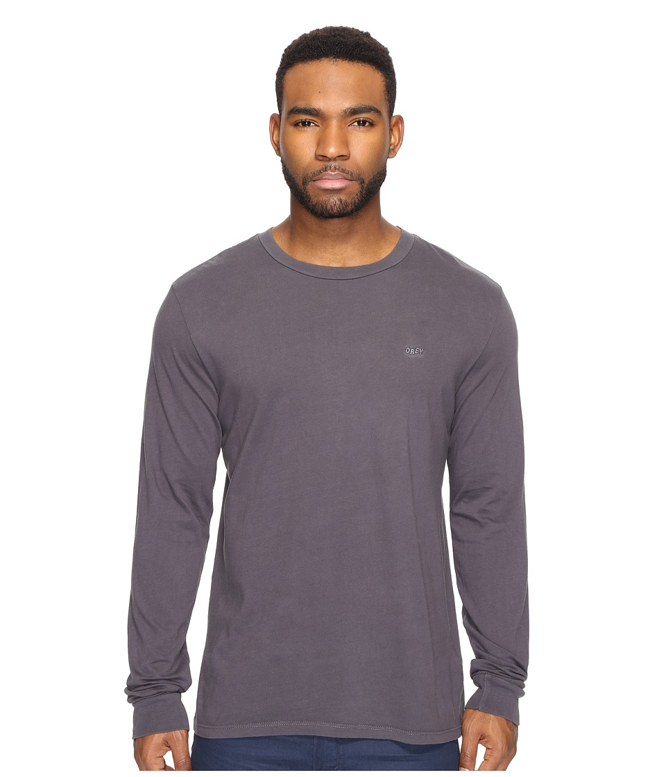 Obey Jumble Long Sleeve Pigment Tee (Black) Men