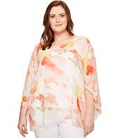 Calvin Klein Plus - Plus Size Printed Slit Sleeve Blouse