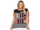 Calvin Klein Plus - Plus Size Mixed Media Print and Striped Top