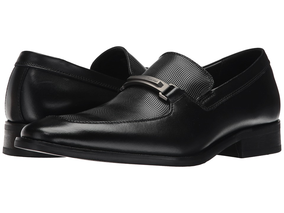 Calvin Klein - Rufus (Black Grid Emboss) Mens Slip on  Shoes