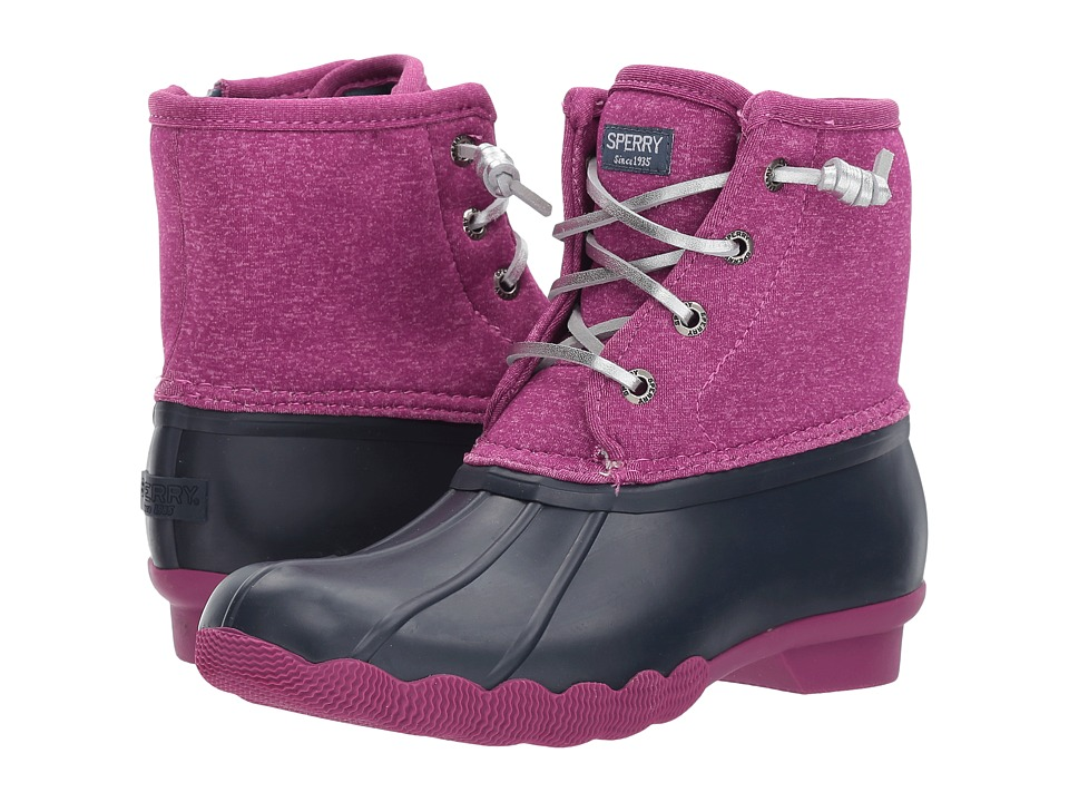 Sperry Kids Saltwater Boot (Little Kid/Big Kid) (Navy/Magenta) Girls Shoes