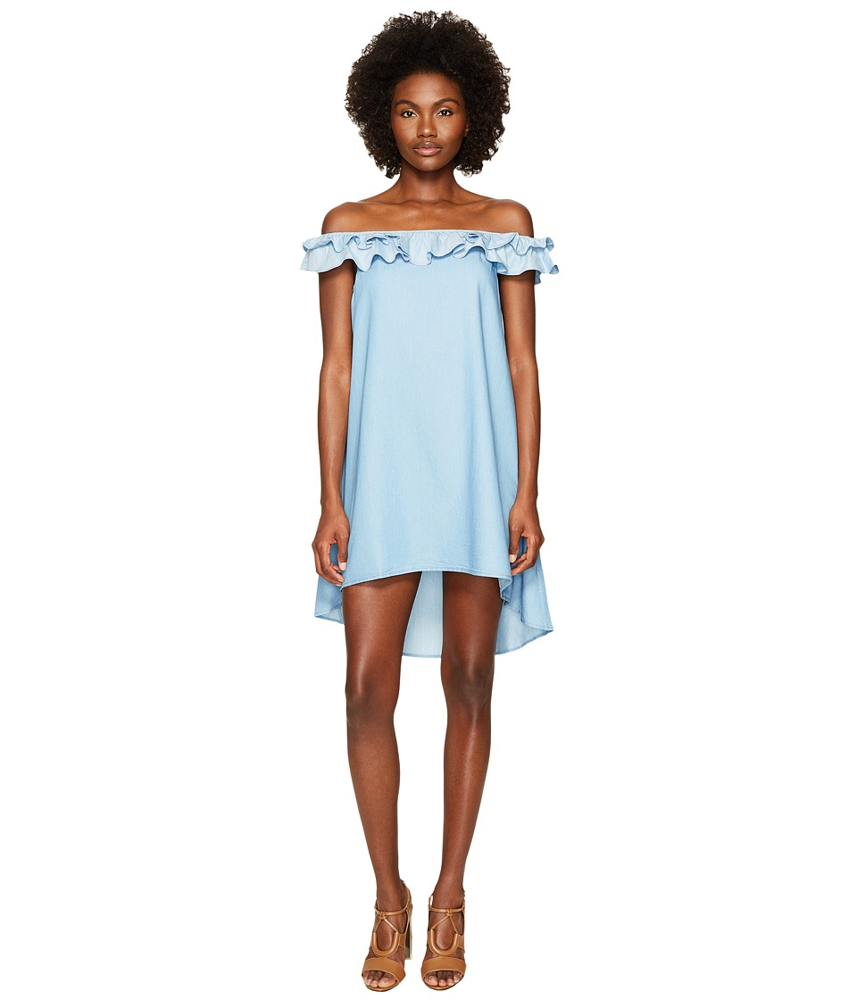 Jonathan Simkhai - Chambray Denim Off Shoulder Ruffle Dress Cover
