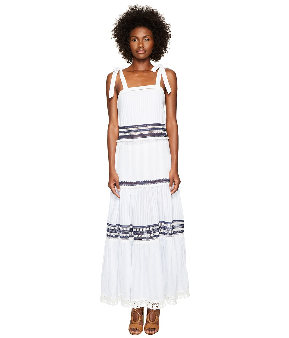 Jonathan Simkhai Mixed Voile Tie Layered Maxi Cover-Up (French Blue/White)