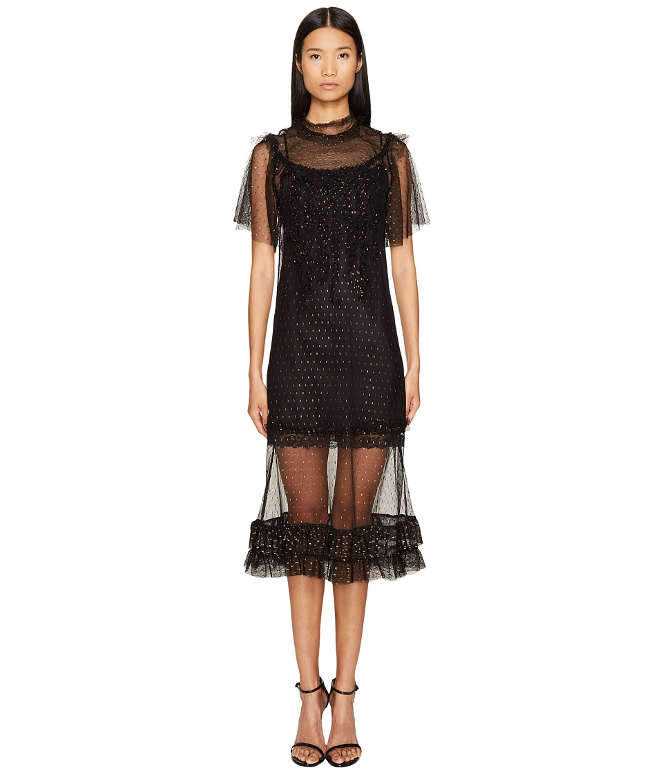Sonia by Sonia Rykiel - Short Sleeve Plumetis Dress with Frills